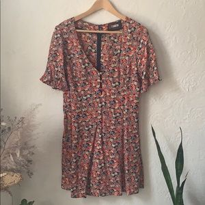 Reformation floral mini dress 6p frill sleeves